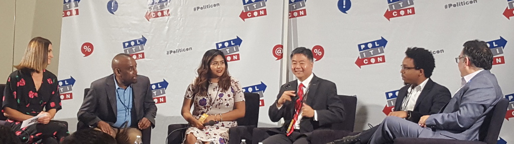 From left, Krystal Ball of MSNBC, the Rev. Jesse Lee Peterson, immigration activist Julissa Arce, U.S. Rep. Ted Lieu, journalist Vann Newkirk, and Hector Villagra with the ACLU of Southern California speak at the third annual Politicon convention on July 30, 2017 at the Pasadena Convention Center.