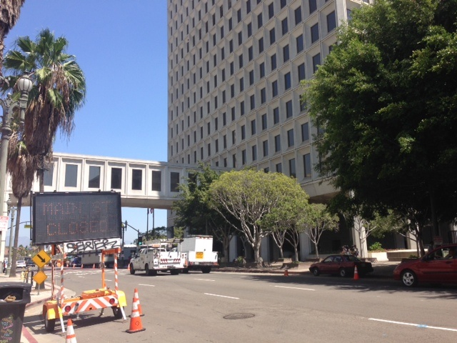 Construction crews are on site at City Hall as work begins on the Made in America festival.