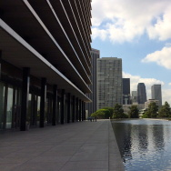 The Reflecting Pool surrounds Los Angeles Department of Water and Power's headquarters in Downtown Los Angeles