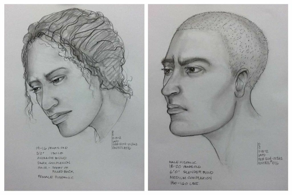 Composite sketches of the victim (L) and suspect (R) in the reported El Sereno kidnapping.