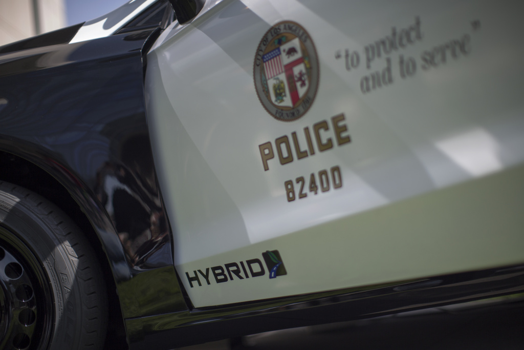 A hybrid police car is seen at the unveiling of two new Ford Fusion hybrid pursuit-rated Police Responder cars at Los Angeles Police Department headquarters on April 10, 2017.