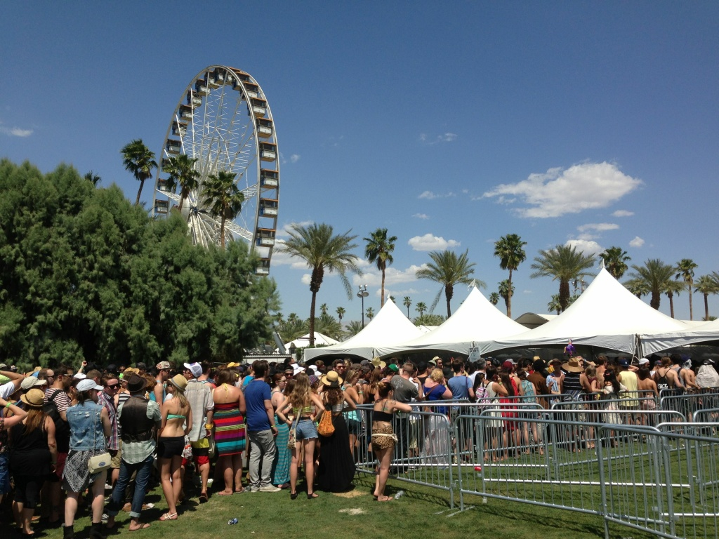 April 12, 2013: Long lines at Coachella 2013 keep festival attendees waiting in the sun to enter the grounds on the first day of the first weekend.