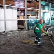 Workers clean the debris from yesterday's blasts at Ataturk International Airport in Istanbul on Wednesday.