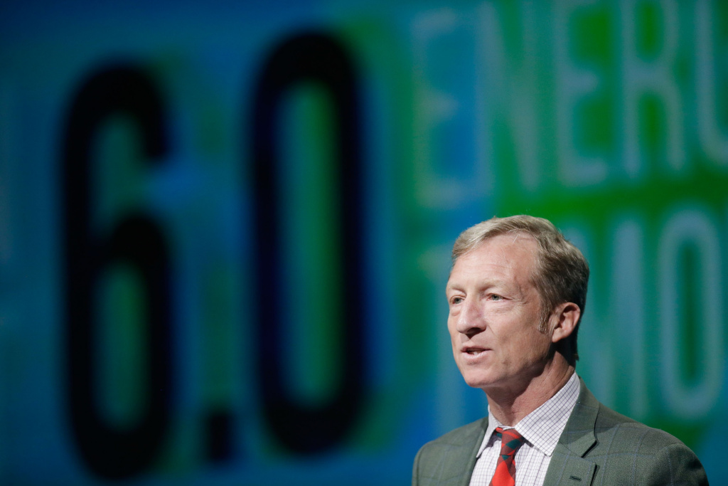 LAS VEGAS, NV - AUGUST 13:  Tom Steyer introduces a panel during the National Clean Energy Summit 6.0 at the Mandalay Bay Convention Center on August 13, 2013 in Las Vegas, Nevada.  (Photo by Isaac Brekken/Getty Images for National Clean Energy Summit 6.0)