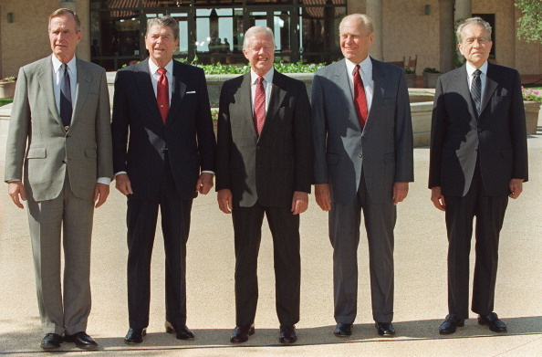 Five US Presidents pose for picture in front of the Reagan Library 04 November 1991 in Simi Valley, Ca. Never before have five American Presidents been together. From left, are Presidents George Bush, Ronald Reagan, Jimmy Carter, Gerald Ford and Richard Nixon.