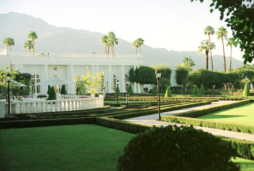 File: Palm trees line the outside of Merv Griffin's Resort Hotel Nov. 26, 2000 in Palm Springs.