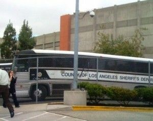 A Los Angeles County prisoner bus, June 2009. The county participates in the federal 287(g) program.