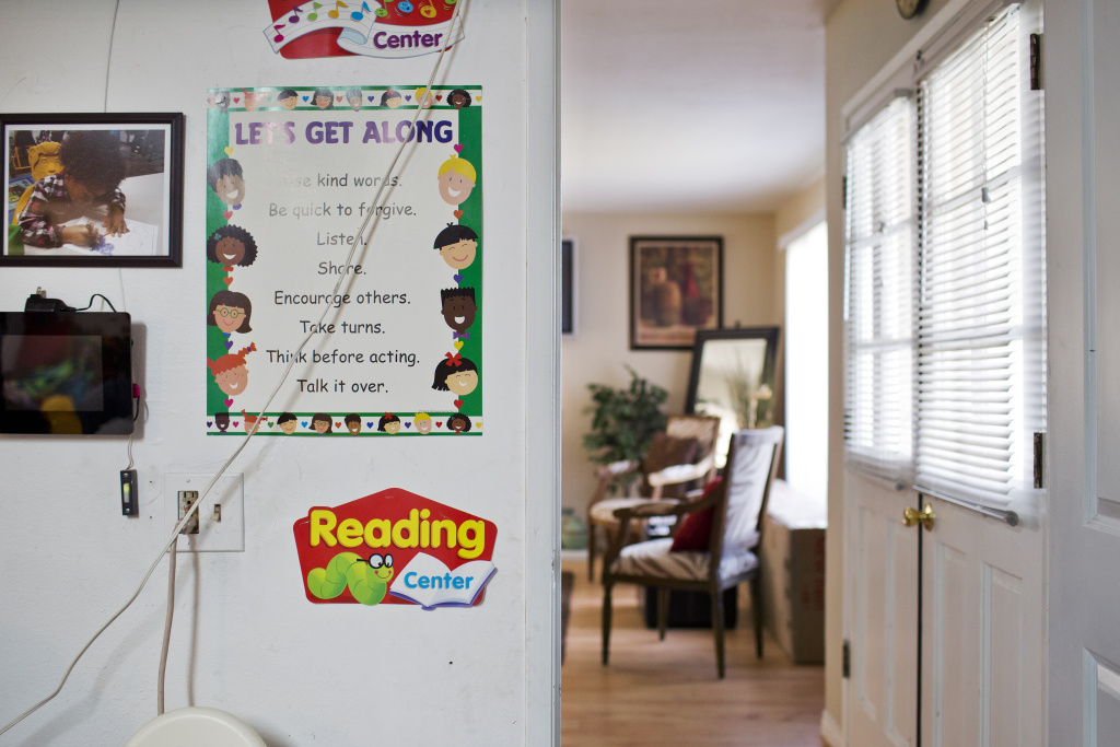 Home-based care provider Tonia McMillian transformed her attached garage into a child care space.