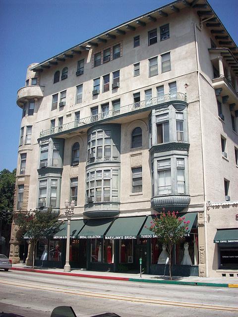 The facade of an old hotel, Old Town, Pasadena.