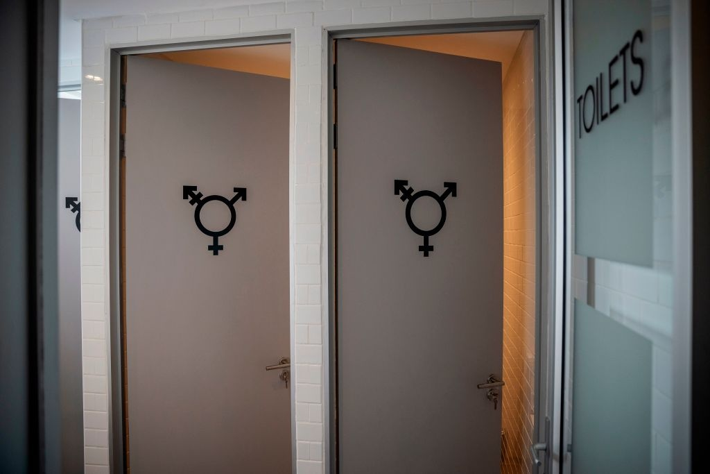 Gender neutral toilets are seen inside the Queer Wellness Centre (QWC) in Johannesburg, on March 11, 2020, Africa's first LGBTI+ health clinic that provides 'stigma-free' sexual and mental health services.