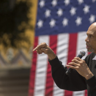 Kareem Abdul-Jabbar speaks at the South Los Angeles Get Out The Vote Rally. Last week, the NBA star suggested that uninformed voters avoid the polls.