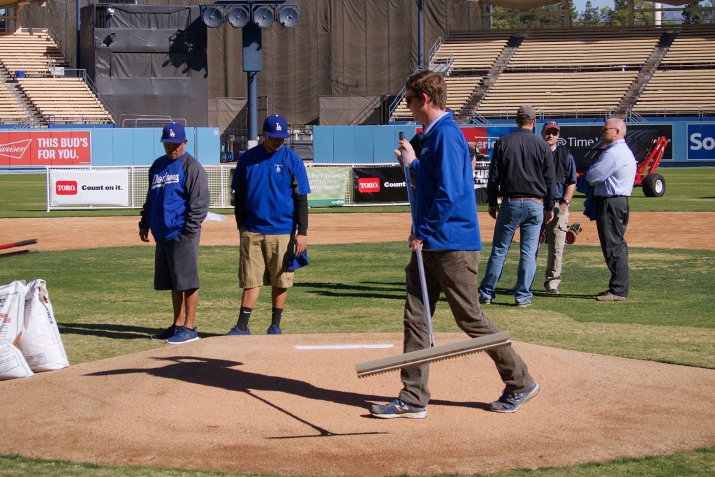 Dodgers employees, high school coaches and local parks groundskeepers learned ways to maintain everything: from outfield grass to pitcher's mounds.