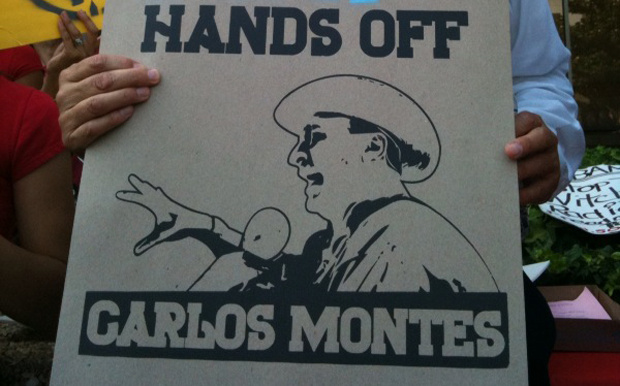 Supporters of activist Carlos Montes protested outside the L.A. County courthouse in Alhambra.