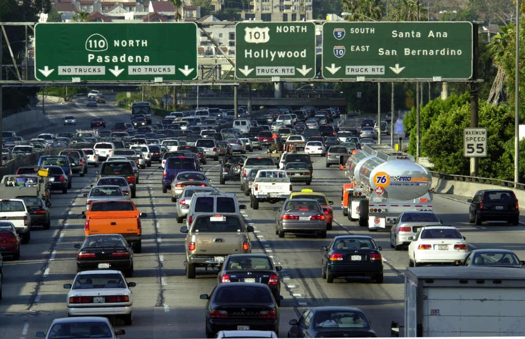 Traffic fills the 110 freeway during rush hour on May 7, 2001, in downtown Los Angeles, CA.