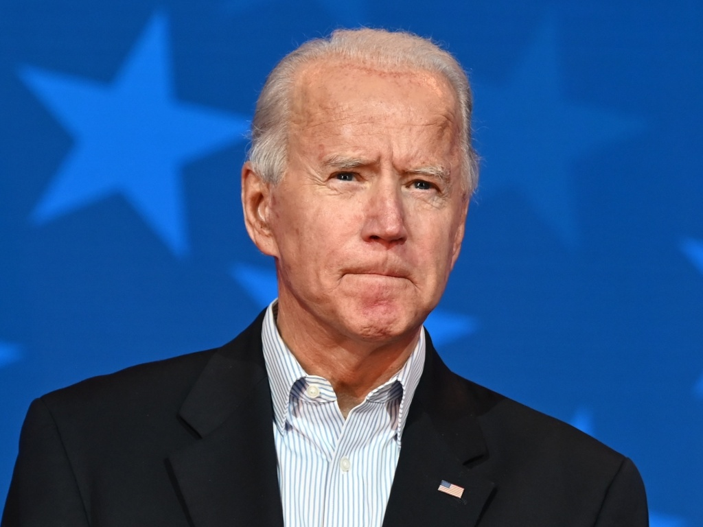 Democratic Presidential candidate Joe Biden looks on while speaking in Wilmington, Del., Thursday.