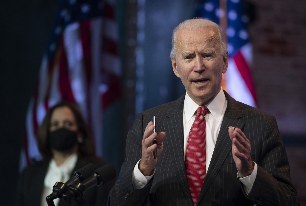 US President-elect Joe Biden speaks after a meeting with governors in Wilmington, Delaware, on November 19, 2020.