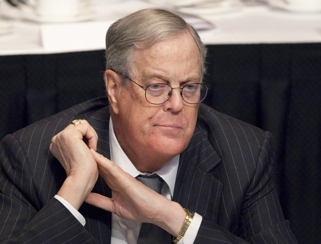 David Koch, executive vice president of Koch Industries, attends a meeting of  the Economic Club of New York on April 11, 2011. Koch is donating a record $35 million to the Smithsonian's National Museum of Natural History to build a new dinosaur hall on the National Mall. The Smithsonian is announcing the gift Thursday from the executive vice president of Koch Industries Inc. of Wichita, Kan. It is the single largest gift in the museum's 102-year history.