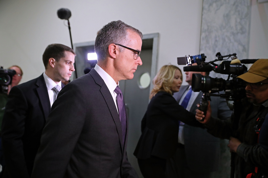 FBI Deputy Director Andrew McCabe arrives for a meeting with members of the Oversight and Government Reform and Judiciary committees in Washington, DC on December 21, 2017.