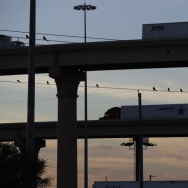 Trucks travel on an overpass to and from the World Trade Bridge which links Laredo, Texas, and Nuevo Laredo in the Mexican state of Tamaulipas.