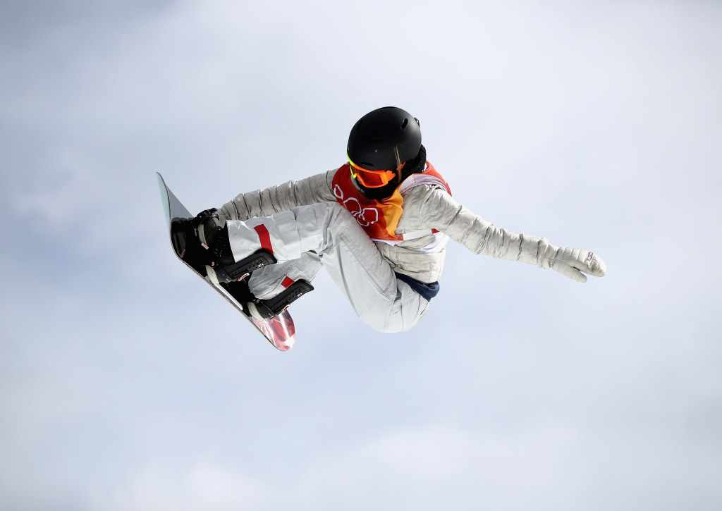 Hailey Langland of the United Sates practices before the Freestyle Skiing Ladies Slopestyle Qualification at the PyeongChang 2018 Winter Olympic on February 11, 2018.