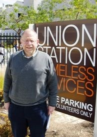 Mark Lacter, who writes for LA Observed and Los Angeles Magazine, and comments on business matters weekly on KPCC's Morning Edition with Steve Julian, at the Union Station homeless center in Pasadena.
