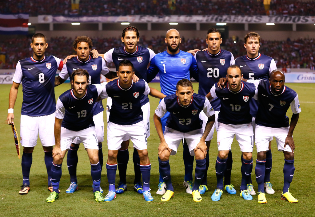 The starting lineup for the United States Men's National Team poses prior to facing Costa Rica during the FIFA 2014 World Cup Qualifier at Estadio Nacional on September 6, 2013 in San Jose, Costa Rica.
