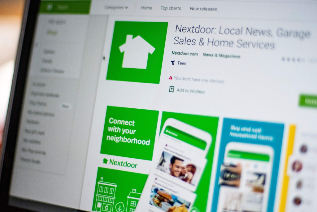 Nextdoor, the hyper local social network, is seen on a computer screen in Washington, DC, on March 27, 2020.