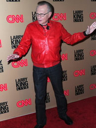 TV host Larry King arrives at CNN's 'Larry King Live' final broadcast party at Spago restaurant on December 16, 2010 in Beverly Hills, California.