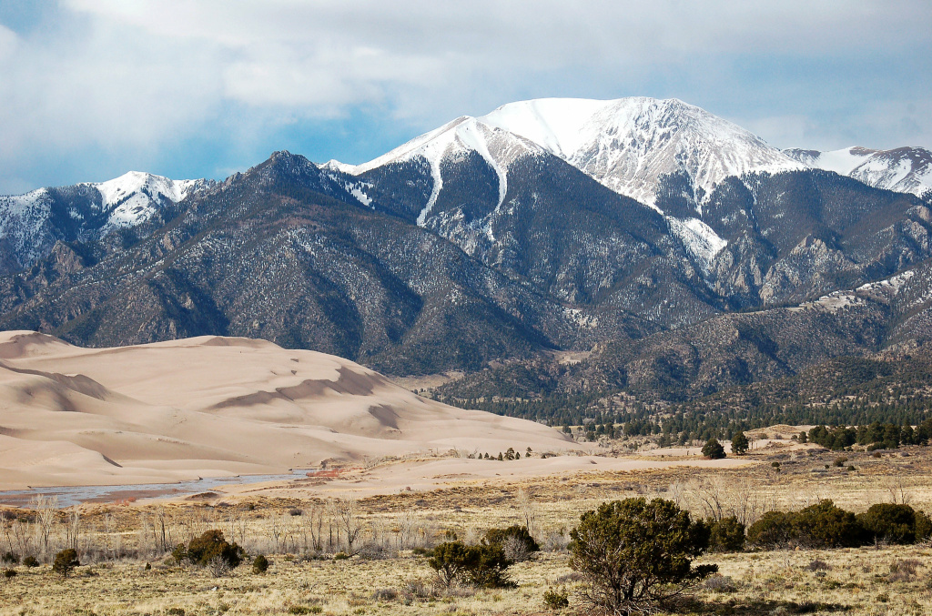 Great Sand Dunes National Park at the base of the Colorado Rockies.