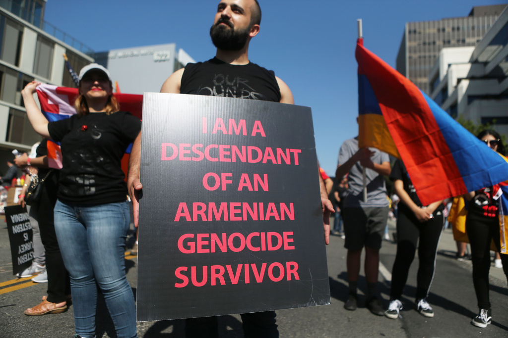 Demonstrators rally outside the Turkish Consulate commemorating the 103rd anniversary of the Armenian genocide on April 24, 2018 in Los Angeles, California.