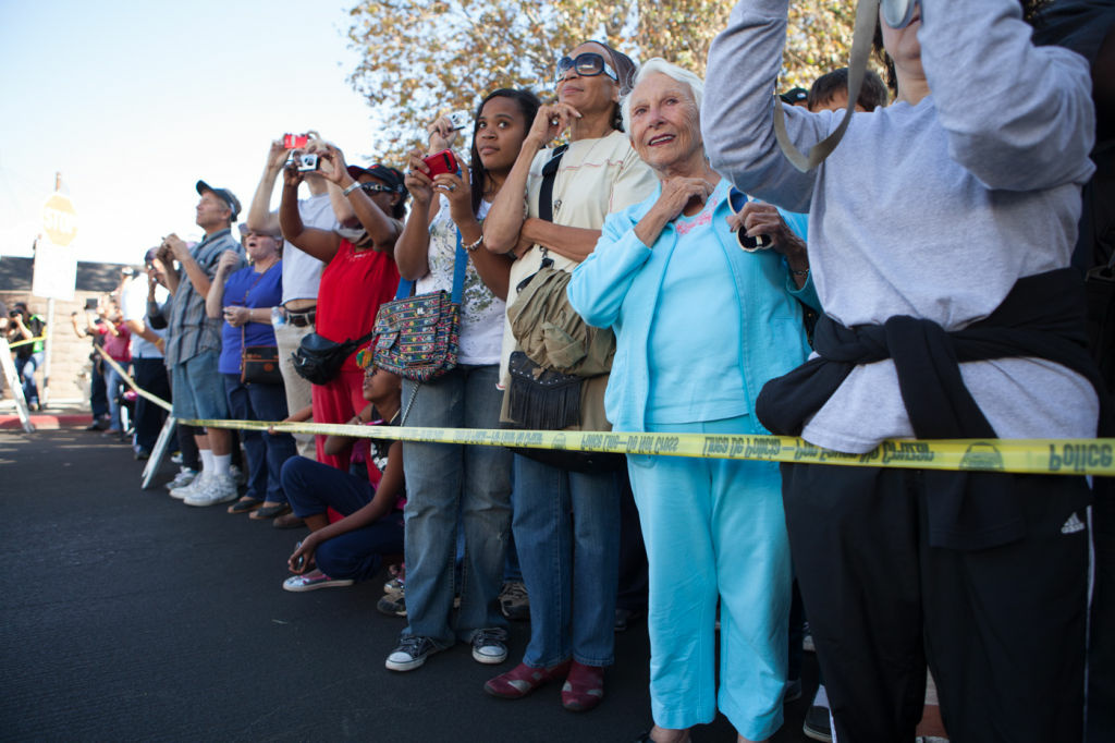 Onlookers waited two hours to see Endeavour drive by on Manchester Ave. in Westchester on October 12th, 2012.