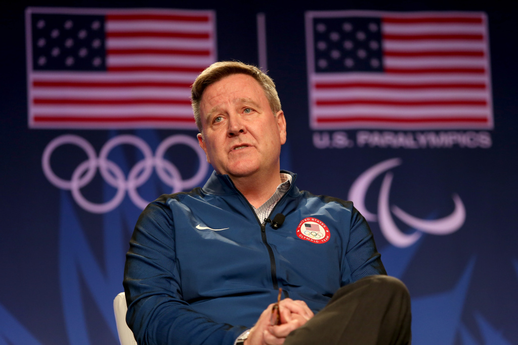 File: USOC CEO Scott Blackmun addresses the media at the USOC Olympic Media Summit at The Beverly Hilton Hotel on March 7, 2016 in Beverly Hills.