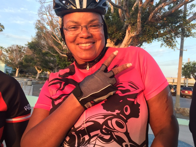 The Black Girls Do Bike Wednesday night training ride stops for a break at Alondra Park in Lawndale, California.