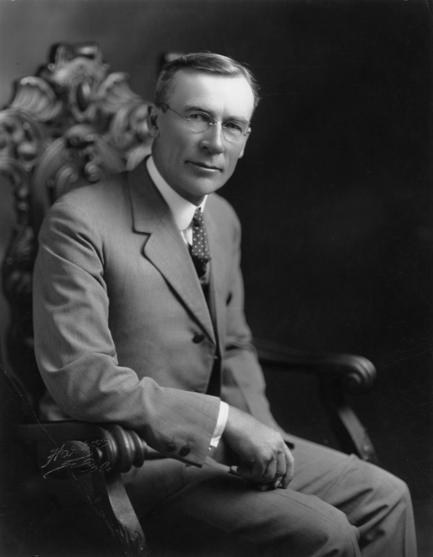 Portrait of George Edward Cryer, Mayor of Los Angeles from 1921-1929. Under Cryer, a former police officer, the present city hall and library, the Coliseum and Olympic Auditorium were erected. The population had reached one million, and passenger service and airmail routes opened between Los Angeles and New York.
