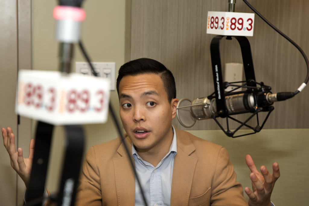 Alan Yang in the KPCC studios.