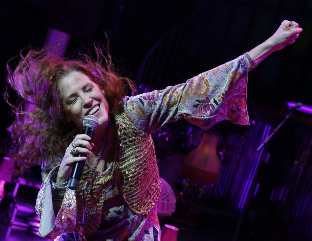 Singer Kacee Clanton in character as Janis Joplin.