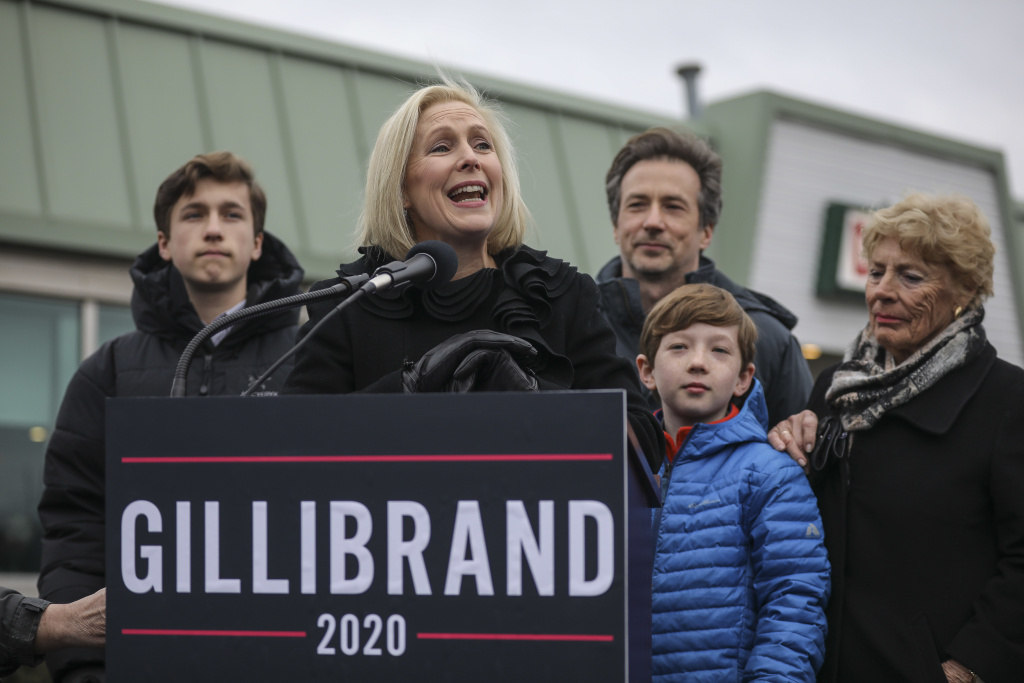 Surrounded by her family, Sen. Kirsten Gillibrand, D-N.Y., announces that she will run for president in 2020 on Jan. 16, 2019, in Troy, N.Y.