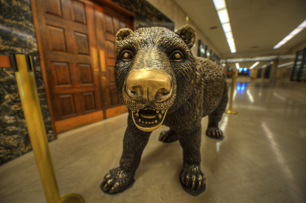 This bear sits outside the California's Governor's office donated by Arnold Schwarzenegger