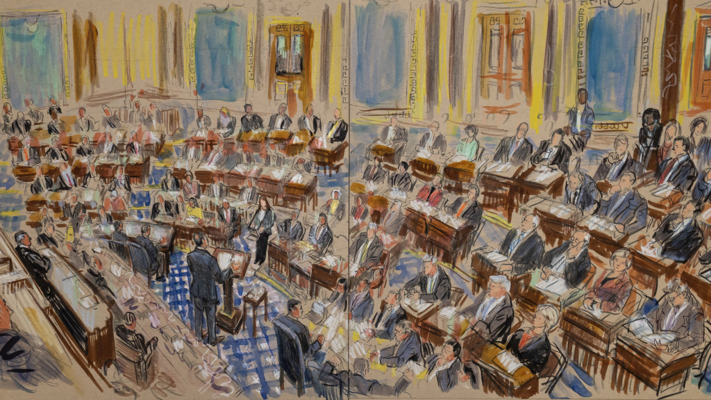 This artist sketch depicts the Trump impeachment trial on Tuesday.