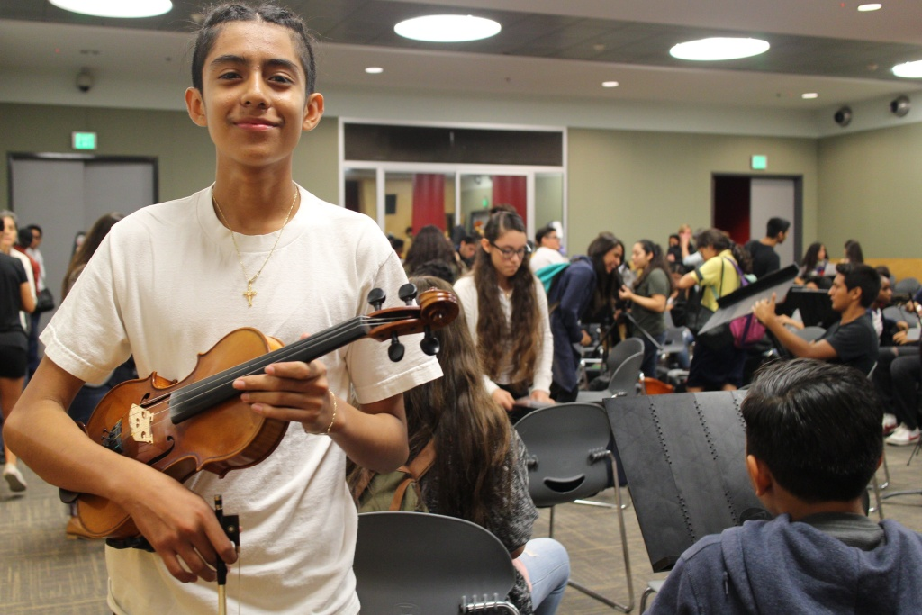 Israel Natareno, 16, has been playing violin with YOLA for eight years.