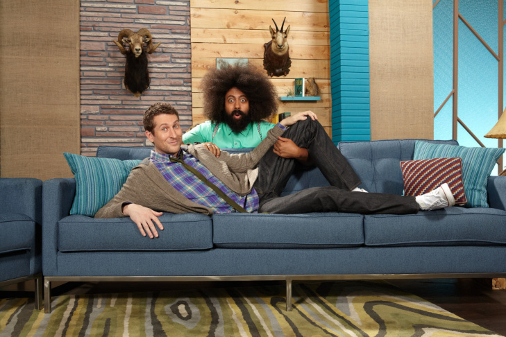 Reggie Watts and Scott Aukerman on the set of the IFC show