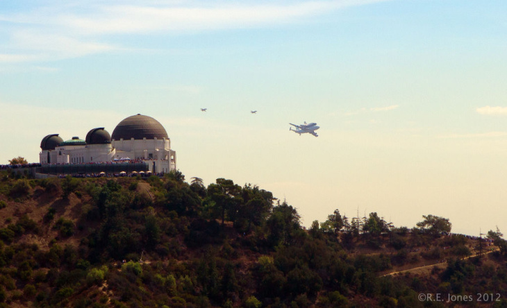Endeavour in Los Angeles over Griffith Park