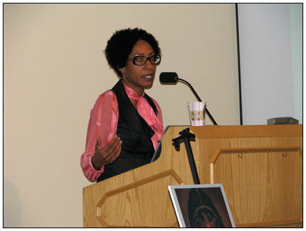 Ayanna Hudson, director of Arts for All, speaks at a Huntington Library event earlier this year.