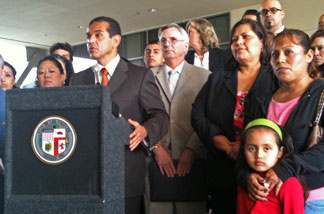 L.A. Mayor Antonio Villaraigosa, L.A. Unified and labor leaders held a news conference today to urge Sacramento lawmakers to place a measure on the ballot to extend some taxes to raise funds for public schools.