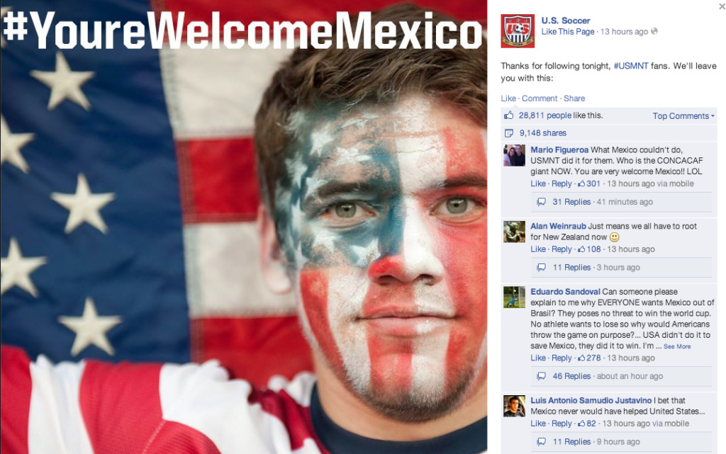 This Facebook post from U.S. Soccer has garnered over 28,000 likes and 9,000 shares.