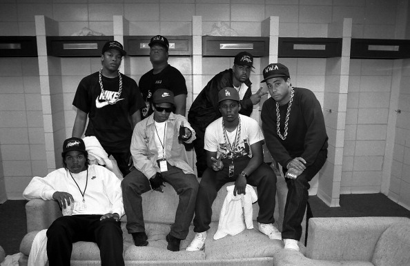 (Back row, L-R) Dr. Dre, Laylaw, The D.O.C. and (front row, L-R) Ice Cube, Eazy-E., MC Ren and DJ Yella  before an N.W.A. performance during the