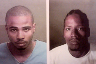 18-year-old Marcus Denson in blue and 21-year-old Leonard Hall Jr. were booked Friday, November 5, 2010 on suspicion of murdering 5-year-old Aaron Shannon Jr.