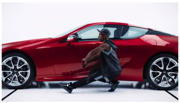A screen shot from the Lexus Super Bowl ad featuring the song