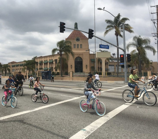 Photo from a tweet posted for the CicLAvia event in the Southeast communities on May 15, 2015.
