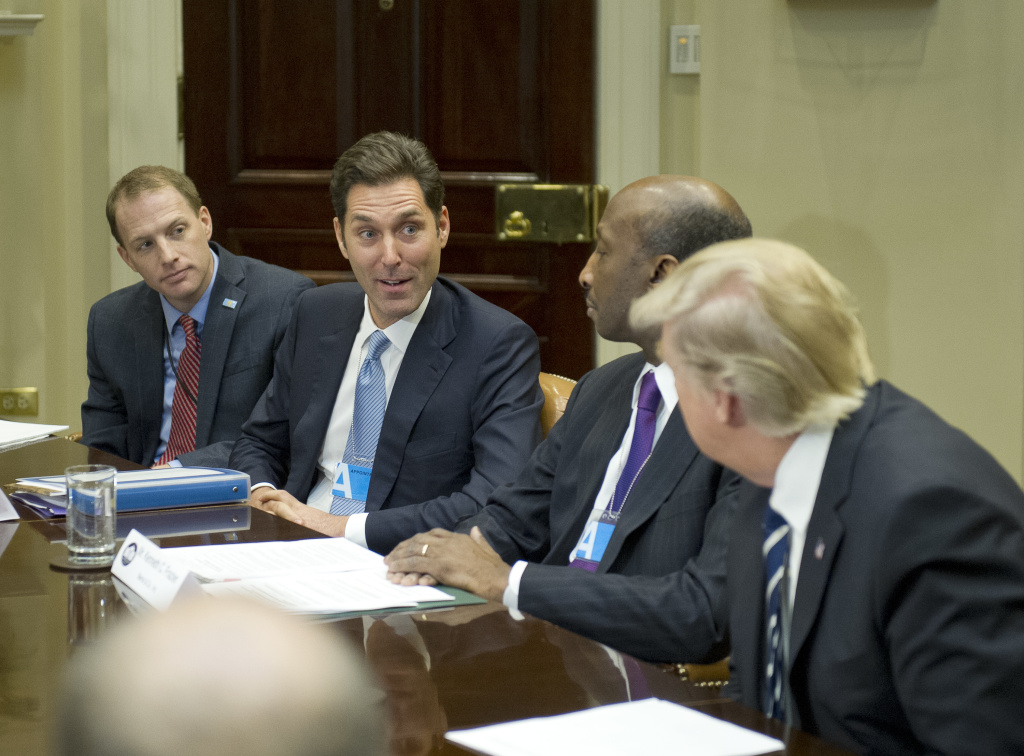 President Donald Trump listened in January as Stephen Ubl, President and CEO of Pharmaceutical Research and Manufacturers of America, second from left, introduced himself during a meeting at the White House. The sky-high prices of some drugs are a big issue for some voters this fall.